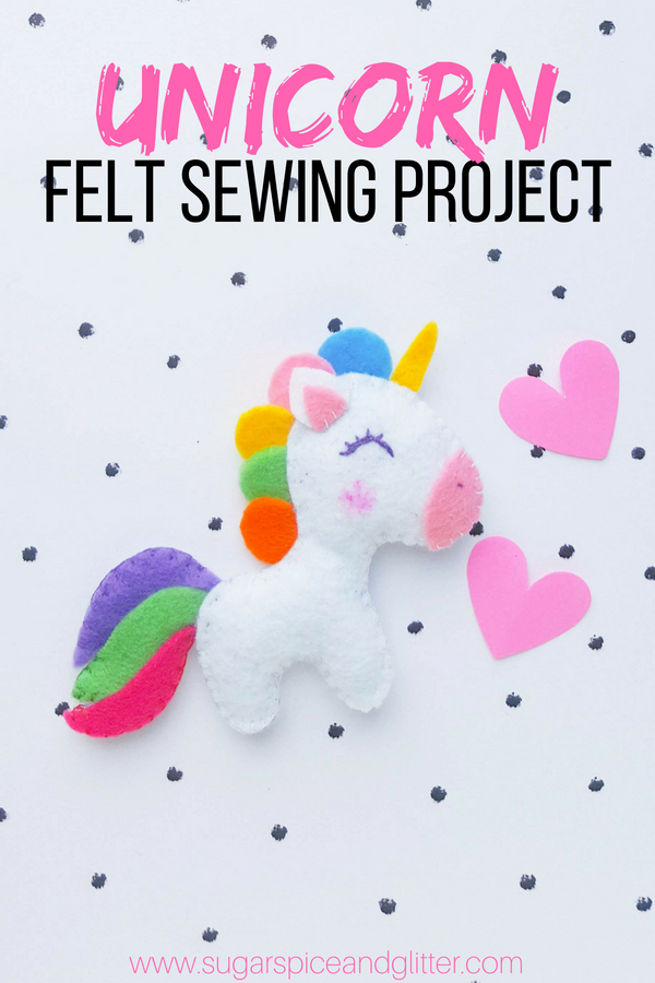 A cute unicorn craft for kids, this unicorn felt sewing project is perfect for kids or beginning sewers