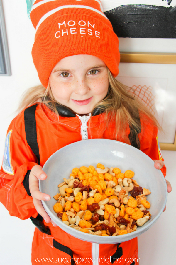 Ella loves her protein-packed Astronaut Trail Mix with Moon Cheese, cashews, dehydrated strawberries and apple chips
