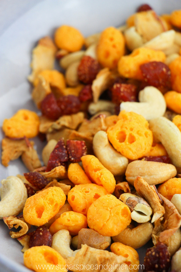 Dehydrated cheese is the secret behind this Moon Cheese Trail Mix, a healthy and satisfying trail mix for kids or adults. A Protein-packed snack for hikes or afternoon snacks