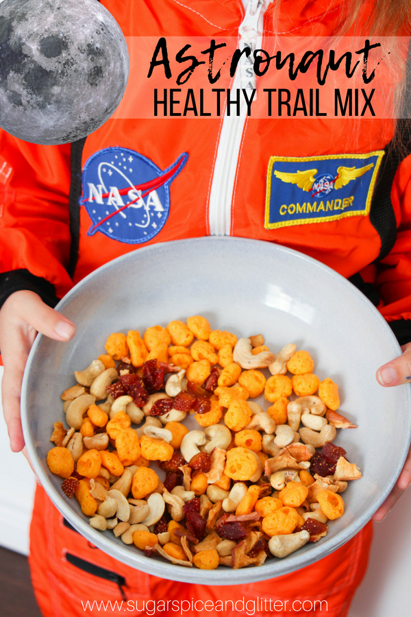 A healthy trail mix for kids, this Astranout Trail Mix is a fun space-themed snack perfect for hikes, space unit studies, or just satisfying snacking