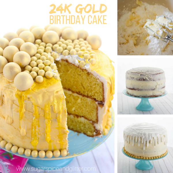This DIY Gold Birthday Cake is super easy to make and features a chocolate drip edge, bright gold color, and fun edible golden gumballs