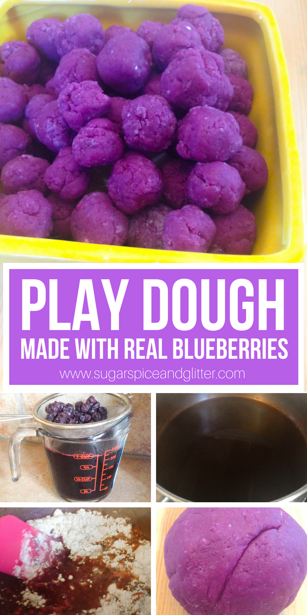 How to make natural play dough with real blueberries! This play dough smells delicious and is perfect for playing bakery. There are so many benefits to letting kids play with play dough - sensory, emotional and academic