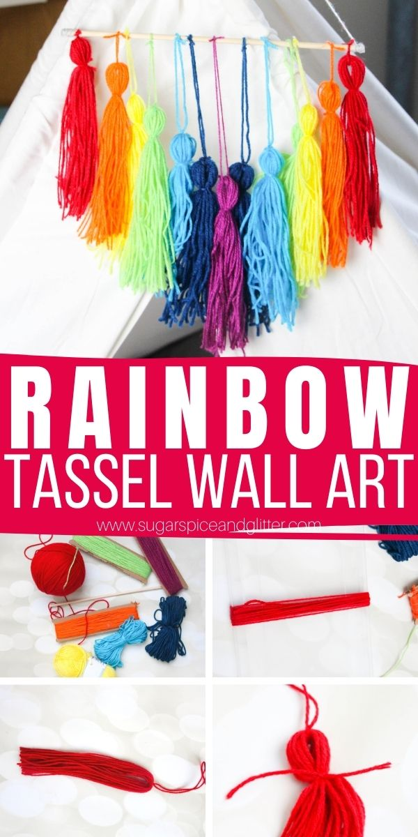 How to make yarn tassels and turn them into a colorful rainbow tassel wall art - perfect for parties, DIY play room decor or using as a mobile or window decoration.