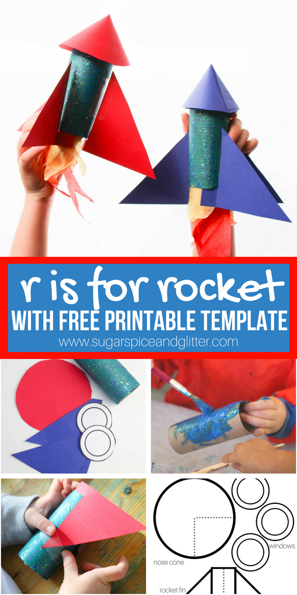 An awesome toilet paper roll craft for kids, this ROCKET craft is part of a letter craft series, and is a fun printable craft perfect for a rainy day