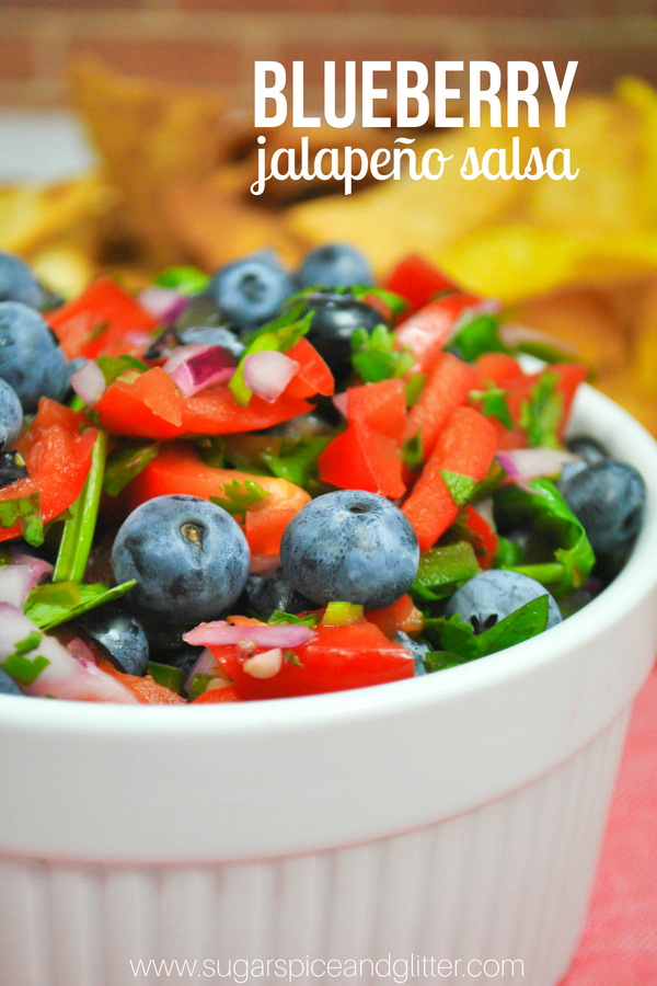 A delicious fruit salsa recipe using blueberries and jalapeños for a sweet and spicy topping for salmon or grilled chicken