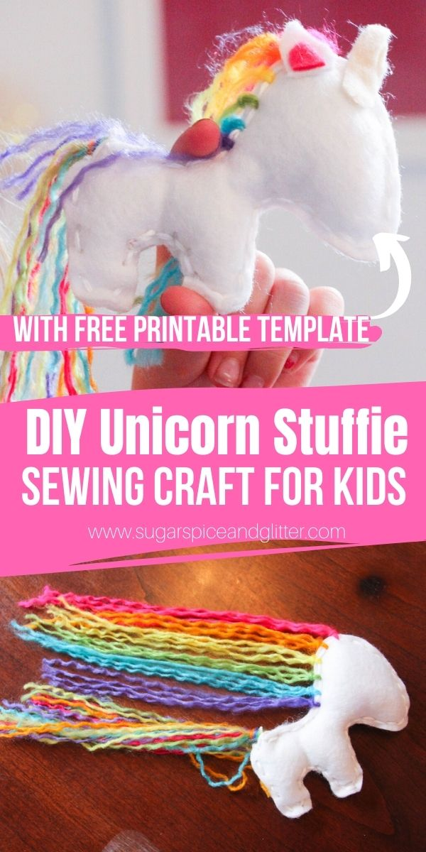 A DIY Unicorn Craft Project for Kids, this easy unicorn sewing project for beginners is absolutely magical