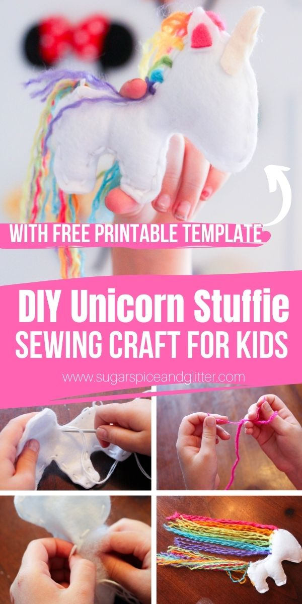How to make a unicorn stuffie, with a free printable sewing pattern. This magical craft is the perfect first sewing project for kids or beginning sewers