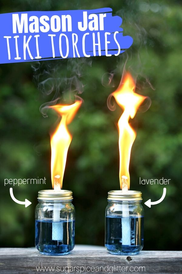 Make mason jar tiki torches that smell like peppermint, lavender or roses - none of that yucky citronella smell! This easy DIY bug repellant will keep the bugs away from your backyard or patio party