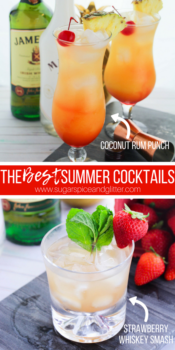 Coconut Rum Punch and Strawberry Whiskey Smash - the BEST summer cocktails bring the best of the Caribbean and Ireland to your patio this summer