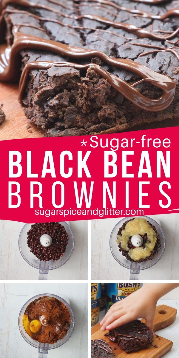 A delicious and easy recipe for sugar-free black bean brownies - your kids will never believe that this protein-packed dessert is actually good for them!