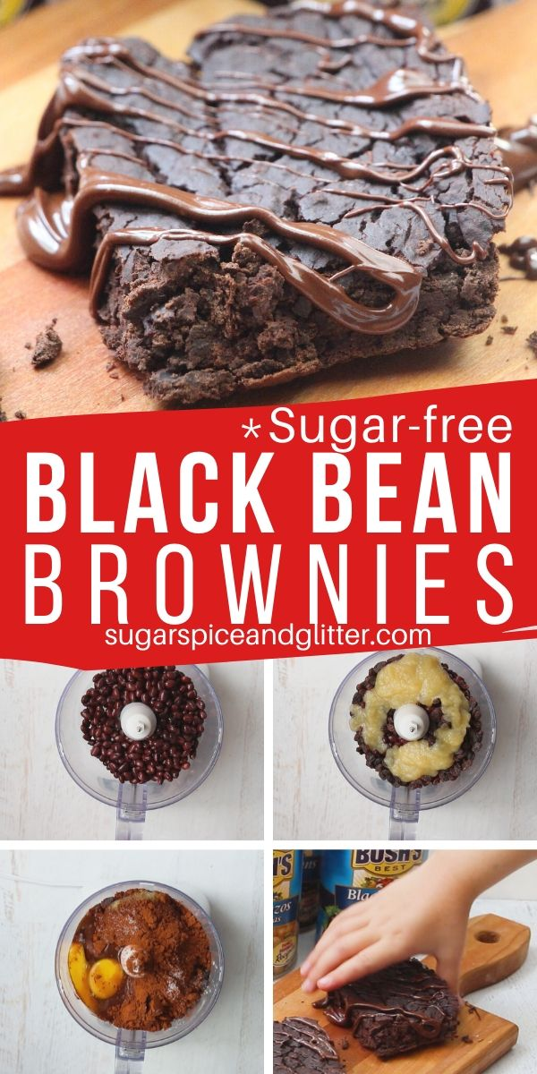 An easy recipe for the best black bean brownie recipe. Sugar-free brownies sweetened naturally with dates and applesauce. No special equipment - just a food processor and a baking tray.