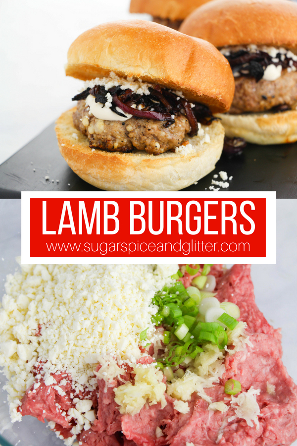 Easy ground lamb recipe for Greek lamb burgers, a fun BBQ recipe the whole family will love - perfect as Greek sliders, too