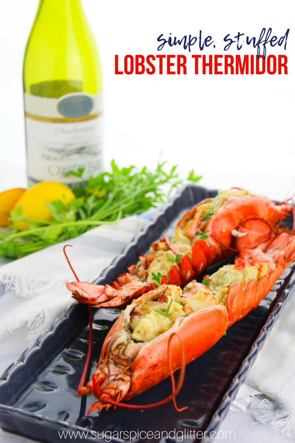 A baked, stuffed lobster recipe inspired by the classic French recipe for Lobster Thermidor. This creamy, decadent lobster recipe will be your new favorite for special occasions