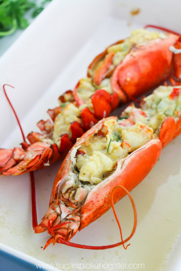 Baked, stuffed lobster thermidor inspired by the classic French recipe