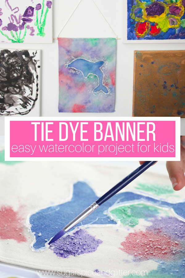 How to make a pretty watercolor banner with a special object or symbol in the centre, we did an ocean art theme but you could also make one for your favorite sports team
