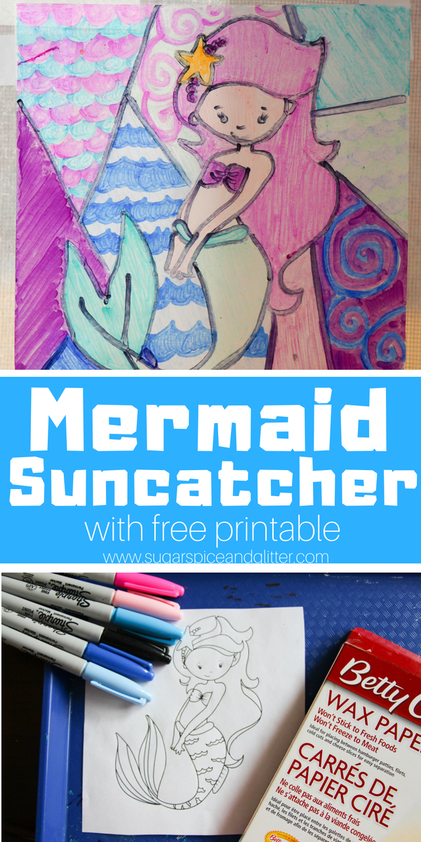 An easy mermaid suncatcher craft for kids - this cute mermaid craft looks like Stained Glass with just a couple household materials. Use our free printable to make this easy mermaid craft