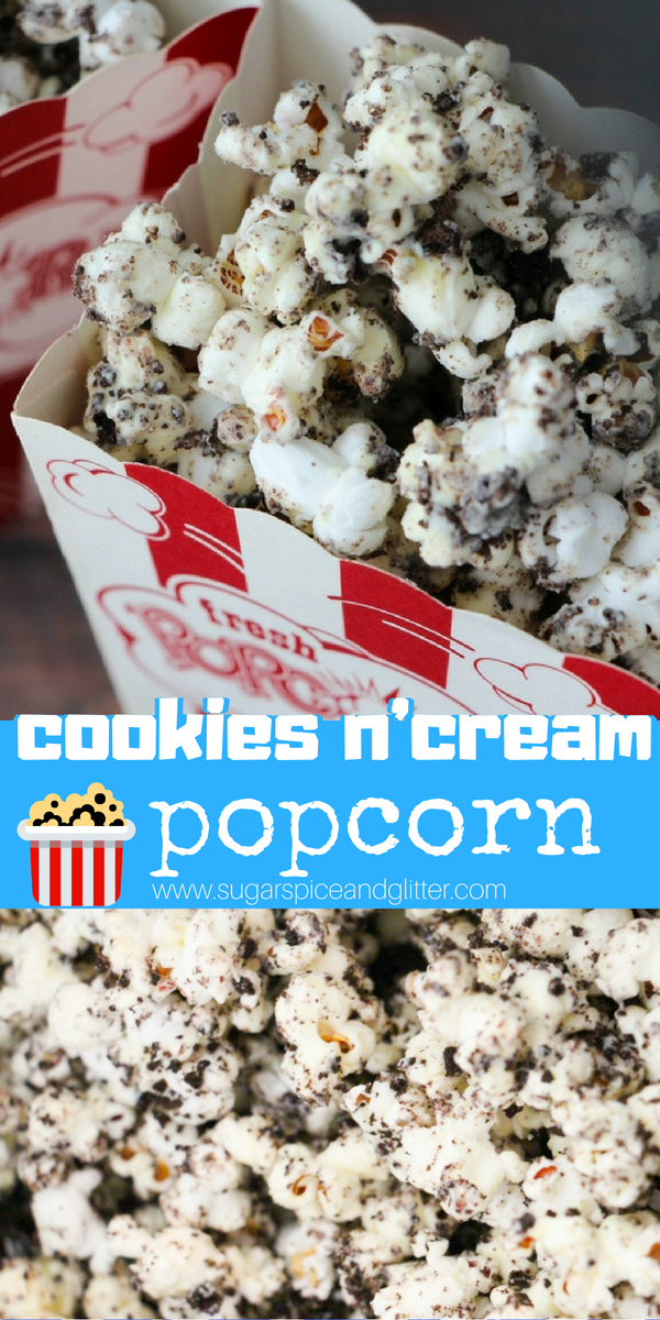 The best movie night popcorn recipe, this homemade Cookies and Cream popcorn dessert is going to be a new family favorite