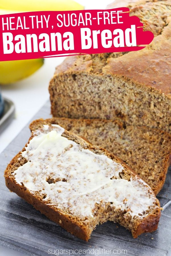 A quick and easy recipe for the BEST Sugar-free Banana Bread you will ever taste. This recipe uses honey and cinnamon to achieve a sweet flavor without processed sugar, plus packs a serious amount of dietary fibre!