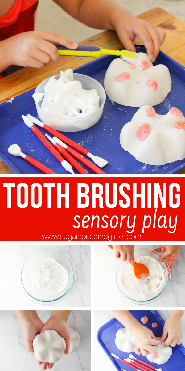 A fun dental sensory play idea for kids including DIY model teeth - we also made a video to show you how to make this simple learning tray for kids