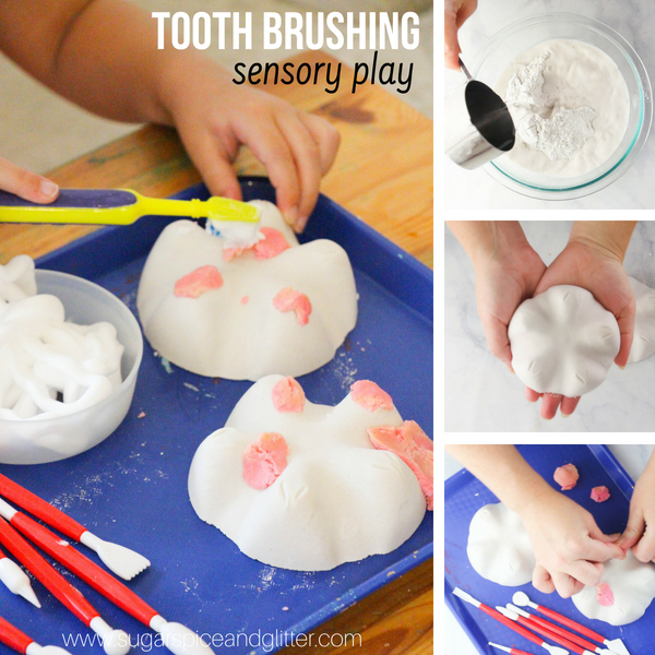 A fun dental sensory play idea for kids including DIY model teeth