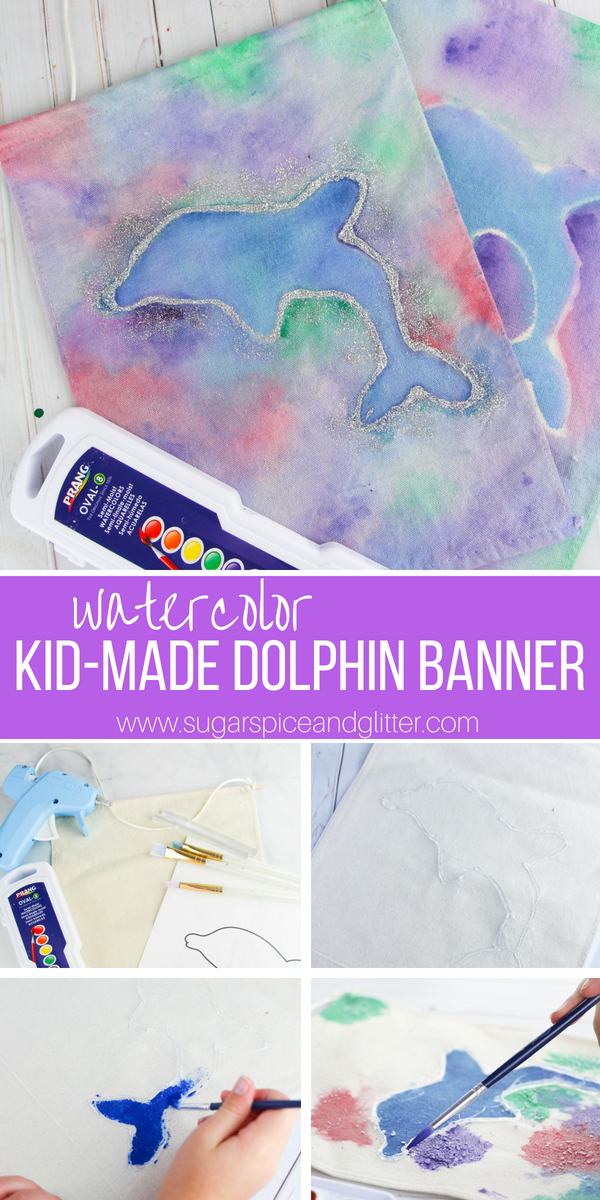 Kids can decorate their room with this pretty homemade decor project, an Easy Watercolor Banner they can customize for their favorite animal or sports team!