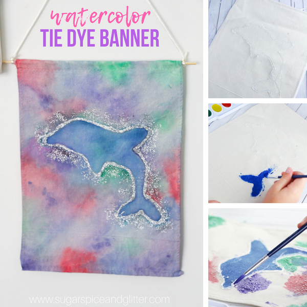 An easy watercolor project for kids, this Dolphin Watercolor Banner is a beautiful homemade kids' decor idea that kids can make independently