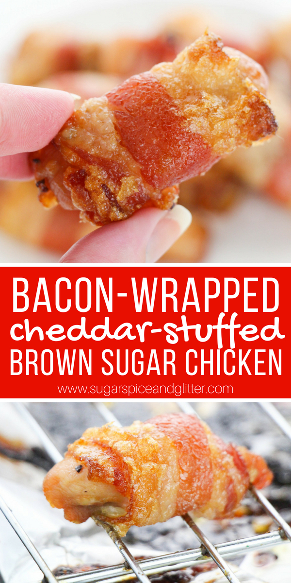 The best chicken appetizer ever: sweet, salty and umami. This bacon-wrapped, cheddar-stuffed brown sugar chicken is one of the best things you will ever eat