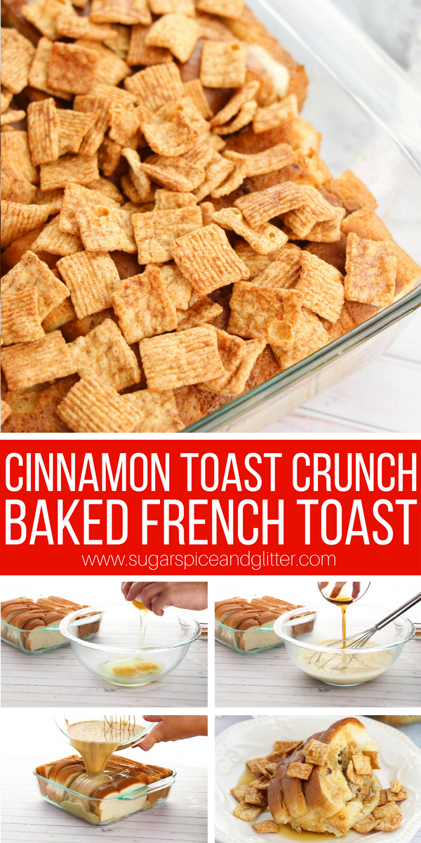 A delicious baked french toast recipe topped with Cinnamon Toast Crunch, this is a fun back to school breakfast that can be prepared the night before! Overnight breakfast french toast for the win!