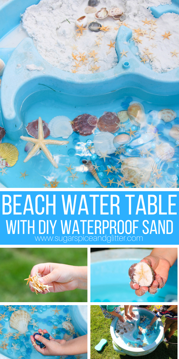 This easy Beach Water Table is a fun summer activity for kids, and you don't have to worry about a muddy mess when you make our DIY waterproof sand