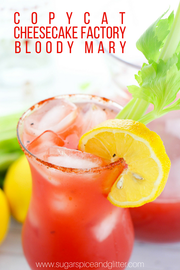 A delicious Copycat Cheesecake Factory recipe for a spicy Bloody Mary cocktail, the perfect tomato cocktail for brunch