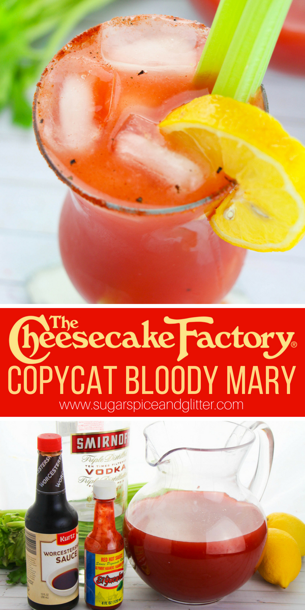 You need to make a pitcher of these spicy Bloody Mary cocktails for your next party or brunch get-together, it's a delicious Cheesecake Factory copycat recipe