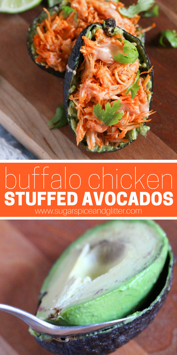 Low carb party food: these Buffalo Chicken Stuffed Avocados are a great way to feel indulged while sticking to healthy eating goals