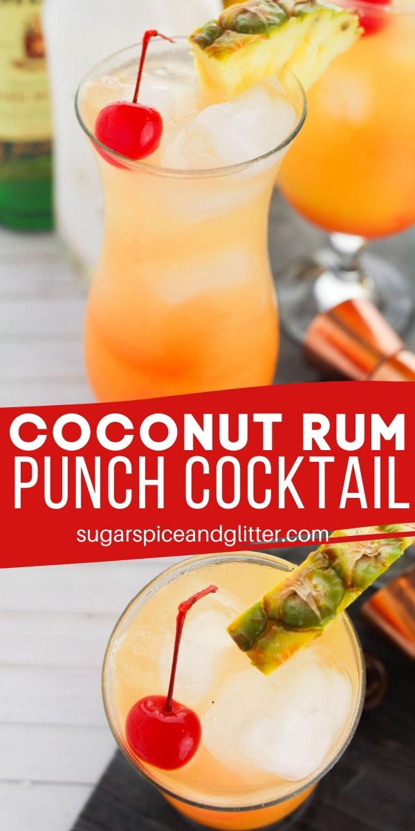 A delicious tropical cocktail recipe, this Coconut Rum Punch tastes like sunshine! A fun party cocktail for summer. #cocktailrecipe #rumpunch #rumcocktail #recipevideo