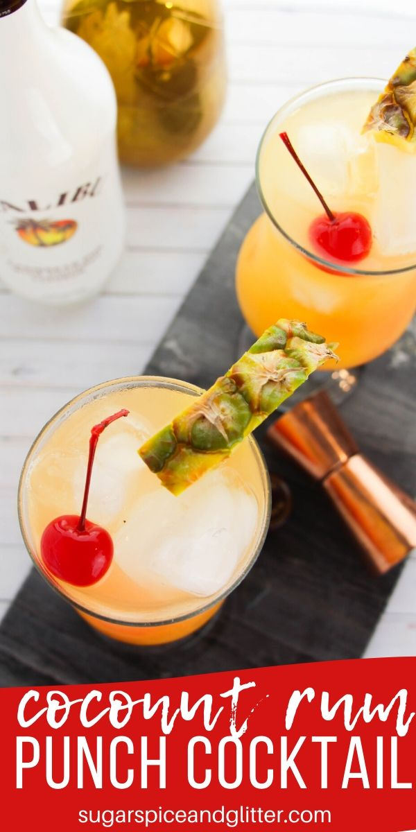 Bring a taste of the Caribbean home with this delicious Coconut Rum Punch, a pretty and fruity rum cocktail that your summer party guests will love