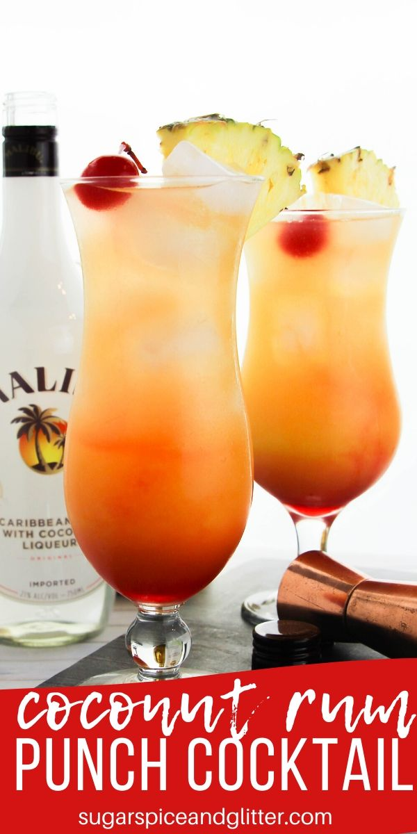 Simply the best summer cocktail recipe - this COCONUT RUM PUNCH is inspired by the delicious rum punches you can get on the beaches in the Caribbean. Make using coconut rum, coconut vodka or coconut cream.