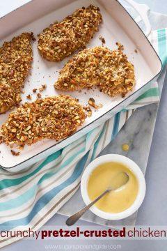 Pretzel-crusted Chicken with Honey Mustard Dip