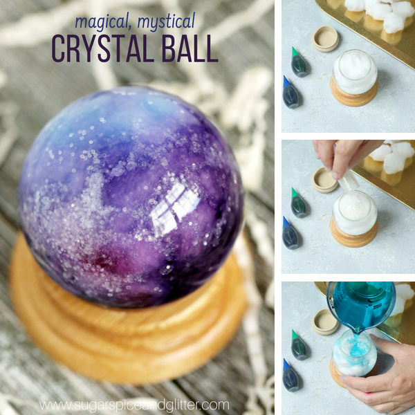 A gorgeous crystal ball craft that kids can make - perfect for Halloween or a family movie night (Harry Potter, Wizard of Oz, Haunted Mansion, or that 80s classic Labyrinth)