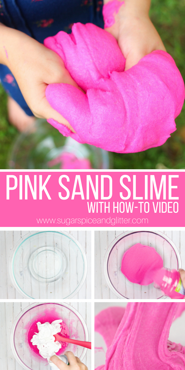 The best sand sensory play idea we've ever tried, this fluffy sand slime is only 4 ingredients and has an amazing texture
