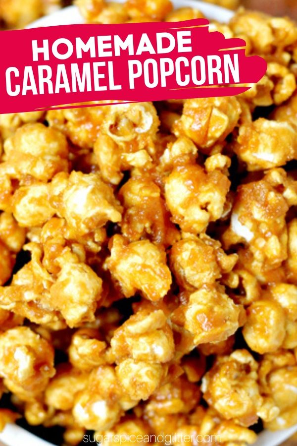 A super simple recipe for homemade caramel popcorn - no special equipment (like candy thermomters) or fancy ingredients needed! The best party popcorn recipe - and you can use it to make homemade Chicago Mix Popcorn