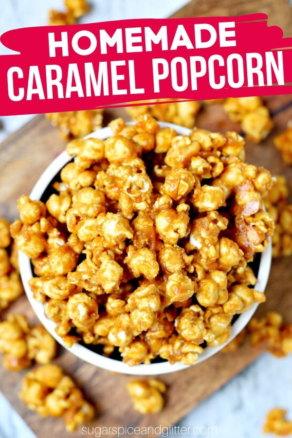 A delicious and easy Homemade Salted Caramel Popcorn recipe is the perfect fall dessert for a Halloween party
