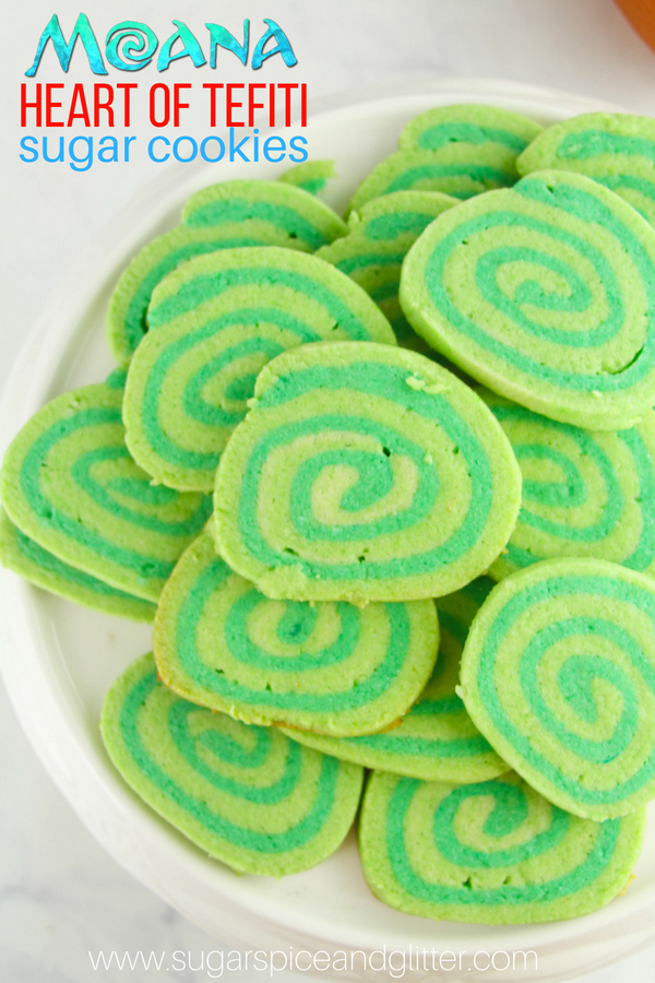 A simple and straightforward recipe for Moana-inspired Heart of Tefiti cookies, pinwheel cookies perfect for a Moana party or movie night