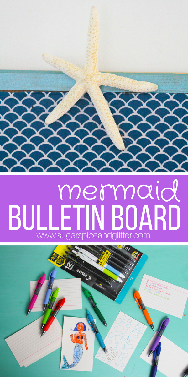 A quick and easy DIY Mermaid Bulletin Board for back to school organization. Make this fun mermaid decor that doubles for helping kids stay on track