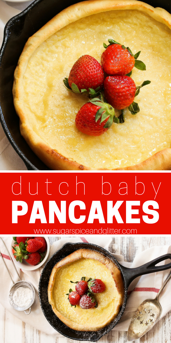 This simple, sugar-free Dutch Baby Pancake recipe is only 4 ingredients and results in the perfect crepe-popover combo. A fun oven pancake recipe made in a skillet