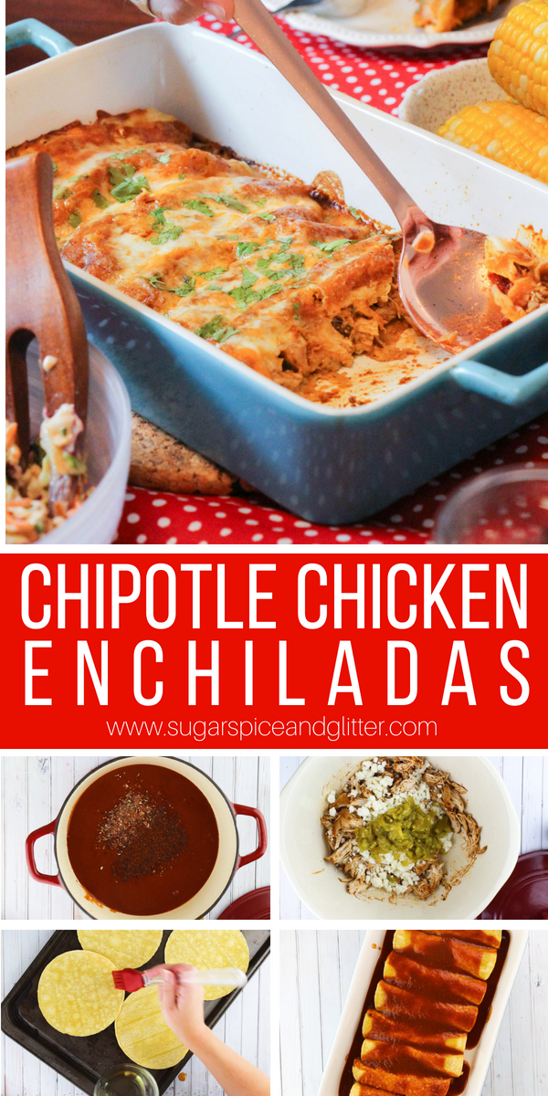 An easy chicken recipe, these not too spicy chicken enchiladas are flavorful and super easy to make. The perfect chicken dish for a tailgating party or casual family night meal