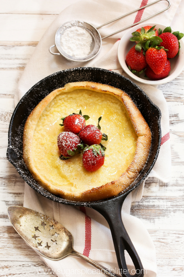 This simple Dutch Baby Pancake recipe is only 4 ingredients and totally sugar-free, an easy brunch recipe or skillet breakfast for when you want something special