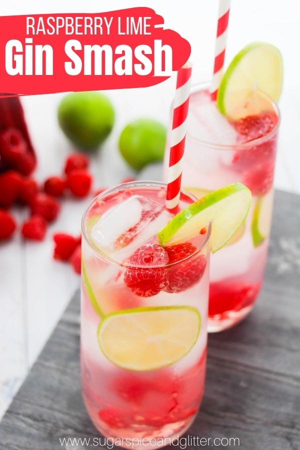 A tart and refreshing summer cocktail made with fresh raspberries and lime, this Raspberry Lime Gin Smash is a fun take on a classic cocktail with vibrant summer flavors and a homemade simple syrup