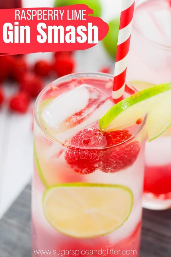 How to make a delicious and refreshing Raspberry Lime Gin Smash with fresh raspberries, lime and a homemade simple syrup. This fun twist on a classic cocktail is the perfect summer cocktail - tart, just a bit sweet and utterly delicious
