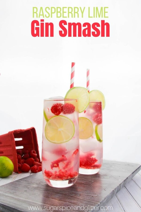 A fun twist on a Raspberry-Lime Gin Rickey, this Raspberry Lime Gin Smash is a refreshing summer cocktail with fresh berries