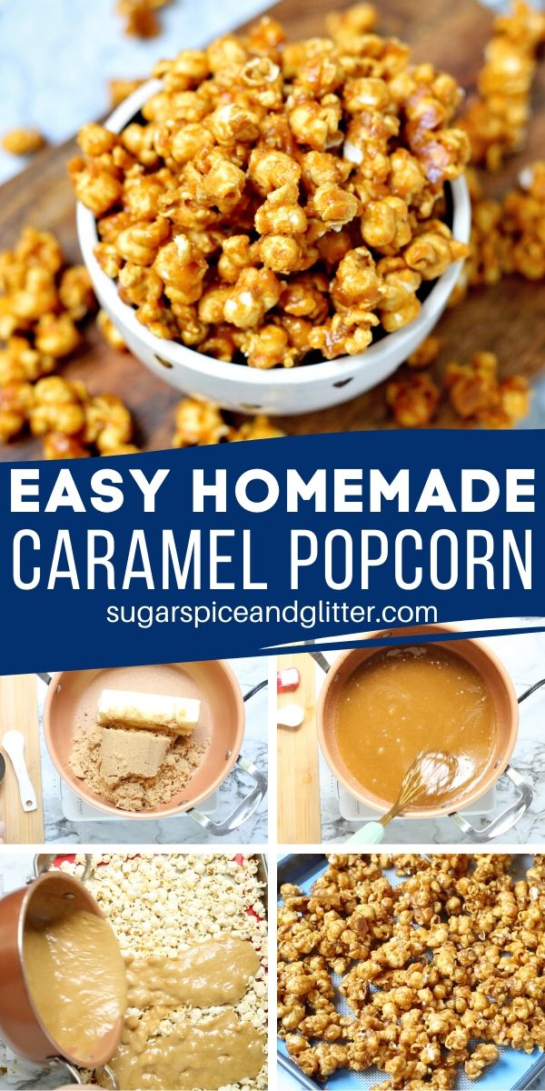Caramel Popcorn from Scratch, this easy Chicago-style Salted Caramel Popcorn is the best caramel dessert for fall and delicious used in party mixes or served on its own