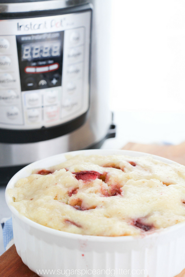 A delicious Instant Pot dessert recipe, this Instant Pot Cake is made with fresh strawberries for the perfect easy summer dessert